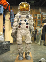 half size apollo space suit in studio