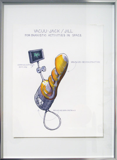 VacuuJack/Jill, For Onanistic Activities In Space, 2007, marker on paper, 24 3/16 x 18 5/16 inches (61.5 x 46.2 cm)