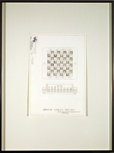 Zero-G Chess Set, R-1, 2007, pencil on paper, 24 3/16 x 18 5/16 inches (61.5 x 46.2 cm)