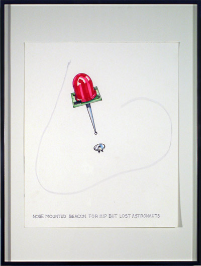 Nose Mounted Beacon For Hip But Lost Astronauts, 2007, marker on paper, 24 3/16 x 18 5/16 inches (61.5 x 46.2 cm)