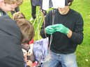 BPL official and group of local students run tests on near spacecraft in LLangollen, Wales.