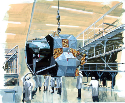 LEM with NASA Technicians, 2001, gouache on paper, 17x14 ins (43x35,5 cm)