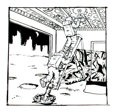 The Underemployed Astronaut changing a light bulb, 2004, ink on paper, 11x14 ins (28x35.5 cm)