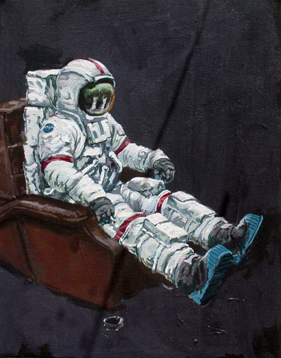 The Underemployed Astronaut, 2004, acrylic on canvas, 16x12 ins (40.5x30.5 cm)